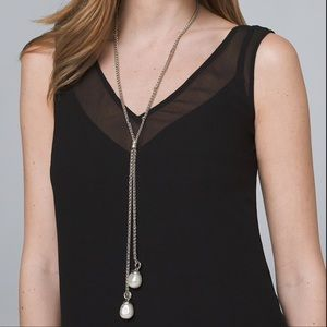 """🆕WHBM """"Y"""" NECKLACE WITH GLASS PEARLS"""